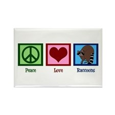 Peace Love Raccoons Rectangle Magnet