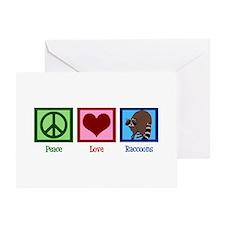 Peace Love Raccoons Greeting Card