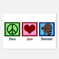 Peace Love Raccoons Postcards (Package of 8)