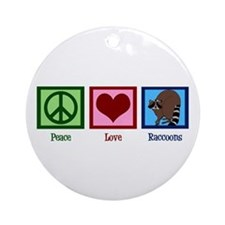 Peace Love Raccoons Ornament (Round)