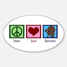 Peace Love Raccoons Sticker (Oval)