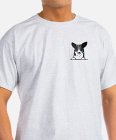 B/W Pocket Corgi Ash Grey T-Shirt