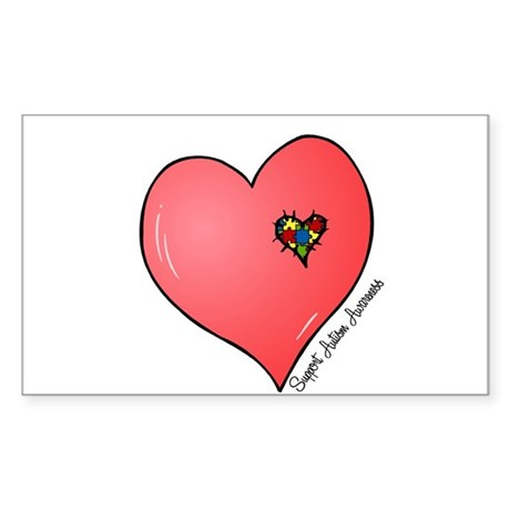 Autism is in my heart Sticker (Rectangle)