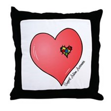Autism is in my heart Throw Pillow