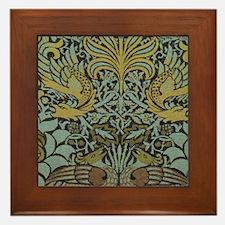 Morris Peacock and Dragon design Framed Tile