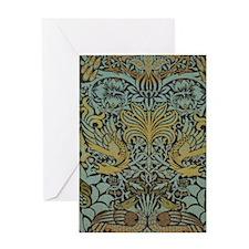 Morris Peacock and Dragon design Greeting Card