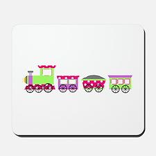 Pink Polka Dot Girl Choo Choo Train Mousepad