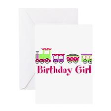 Birthday Girl Pink Birthday Train Greeting Card
