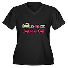 Birthday Girl Pink Birthday Train Plus Size T-Shir