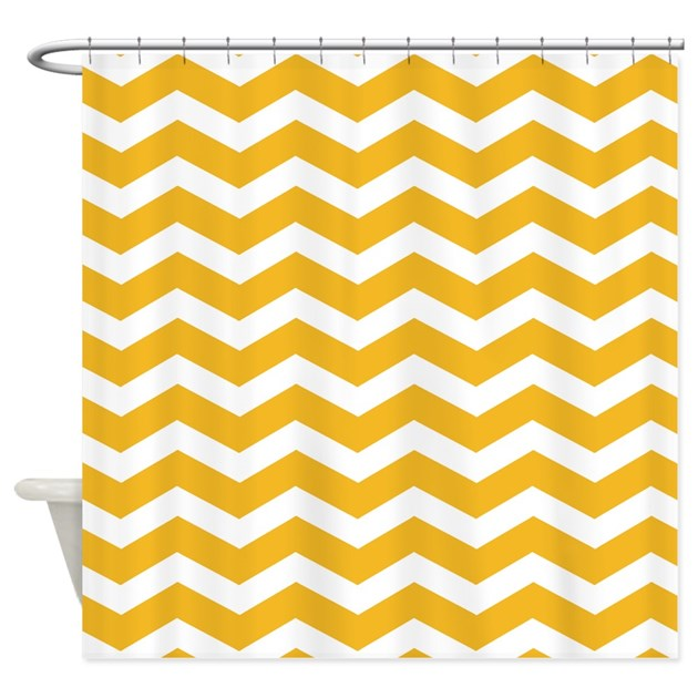 mustard yellow chevron shower curtain by inspirationzstore