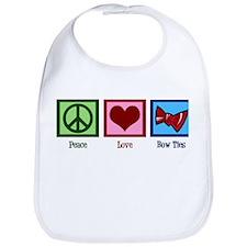 Peace Love Bow Ties Bib