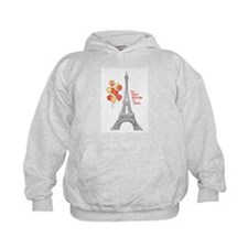 Paris Love Eiffel Tower with Red Balloons Hoodie