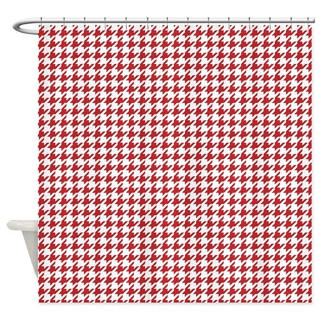 Red And White Houndstooth Shower Curtain
