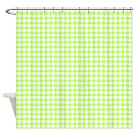 Lime Green And White Houndstooth Shower Curtain By