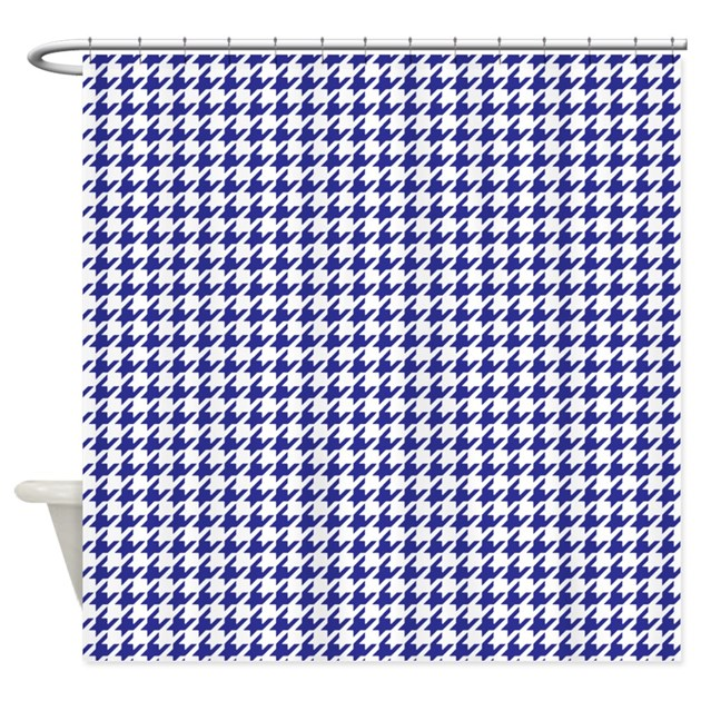 Navy Blue Houndstooth Shower Curtain By InspirationzStore