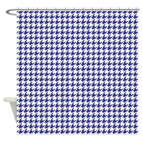 Good Navy Blue Houndstooth Shower Curtain
