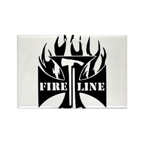 Fire Line Pulaski Iron Cross Rectangle Magnet
