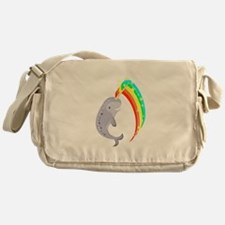 Magical Narwhal Canvas Messenger Bag
