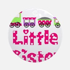 Little Sister Pink Train Ornament (Round)