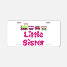 Little Sister Pink Train Aluminum License Plate