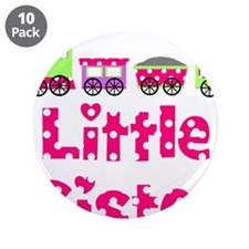 """Little Sister Pink Train 3.5"""" Button (10 pack)"""