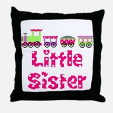Little Sister Pink Train Throw Pillow