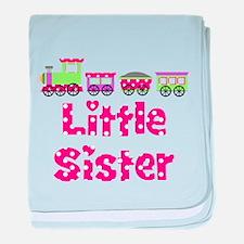Little Sister Pink Train baby blanket