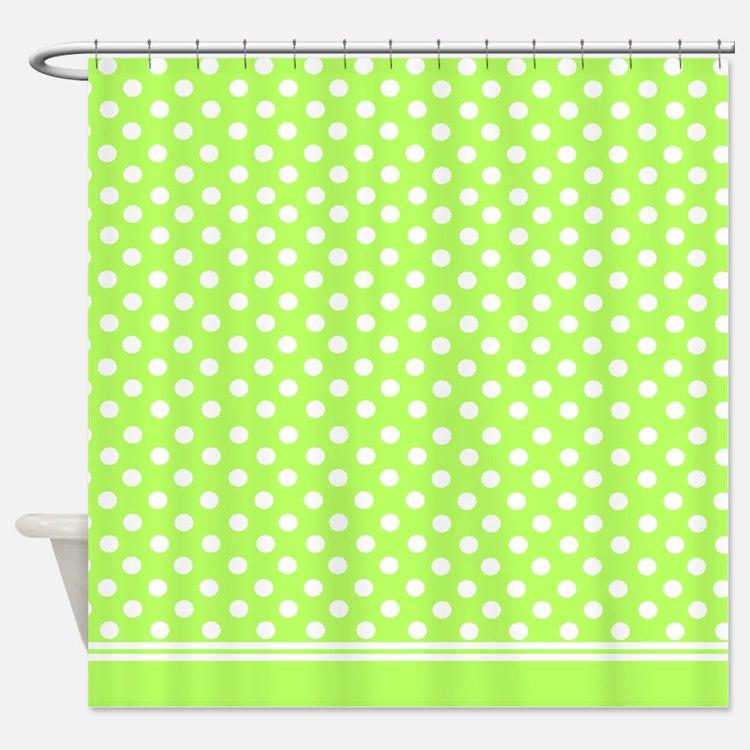 Red polka dot shower curtain - Polka Dot Green Shower Curtains Polka Dot Green Fabric
