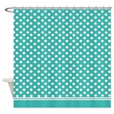 Turquoise polka dots Shower Curtain