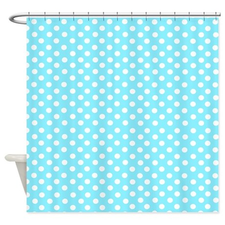 light blue polka dot shower curtain by inspirationzstore. Black Bedroom Furniture Sets. Home Design Ideas