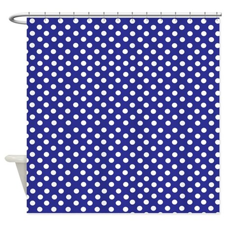 Navy blue polka dot Shower Curtain by InspirationzStore