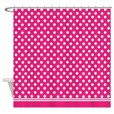 hot pink polka dot shower curtain by inspirationzstore. Black Bedroom Furniture Sets. Home Design Ideas