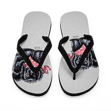 Black Pekingese Girl Flip Flops
