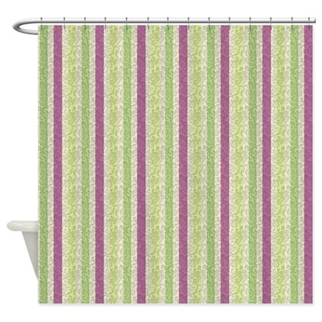 Green And Purple Stripes Shower Curtain By Cheriverymery