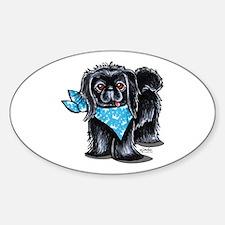 Black Pekingese Boy Sticker (Oval)