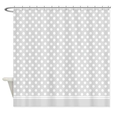 grey polka dot shower curtain by inspirationzstore. Black Bedroom Furniture Sets. Home Design Ideas