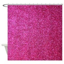 Hot pink faux glitter shower curtain (matte)
