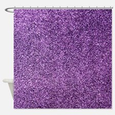 Purple faux glitter texture shower curtain (matte)