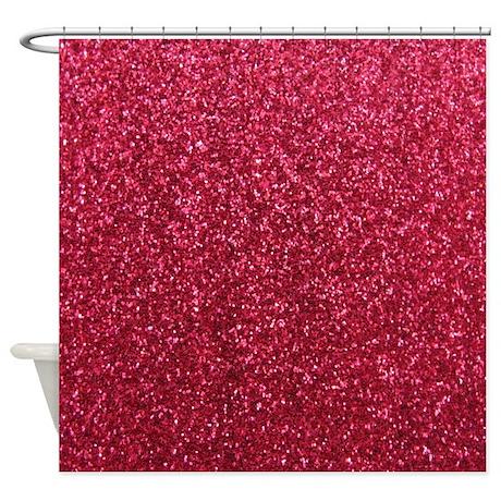 Red faux glitter texture shower curtain (matte)