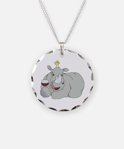 Rhino with Wine Necklace