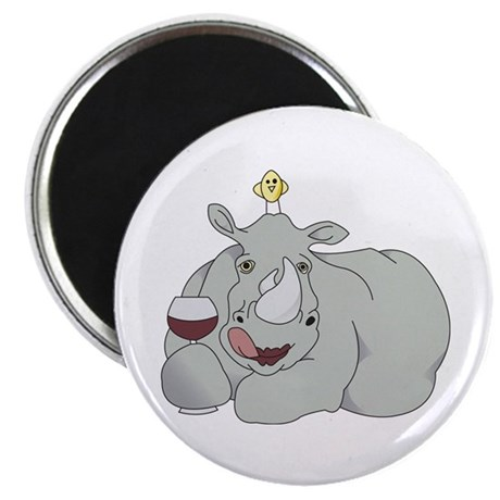 "Rhino with Wine 2.25"" Magnet (100 pack)"