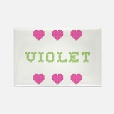 Violet Cross Stitch Rectangle Magnet