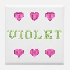 Violet Cross Stitch Tile Coaster