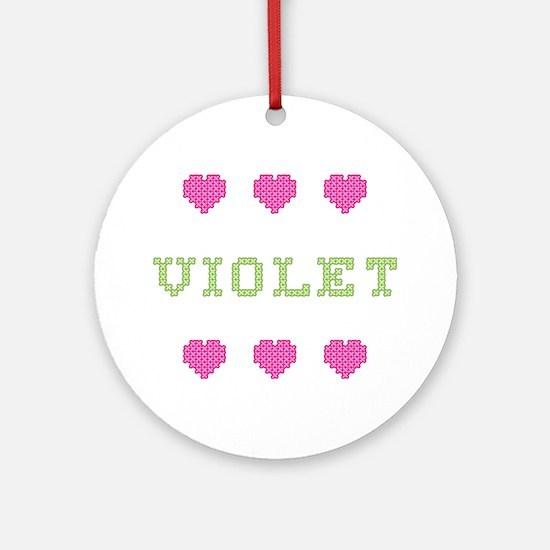 Violet Cross Stitch Round Ornament