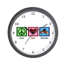 Peace Love Chocolates Wall Clock