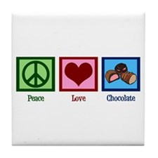 Peace Love Chocolates Tile Coaster