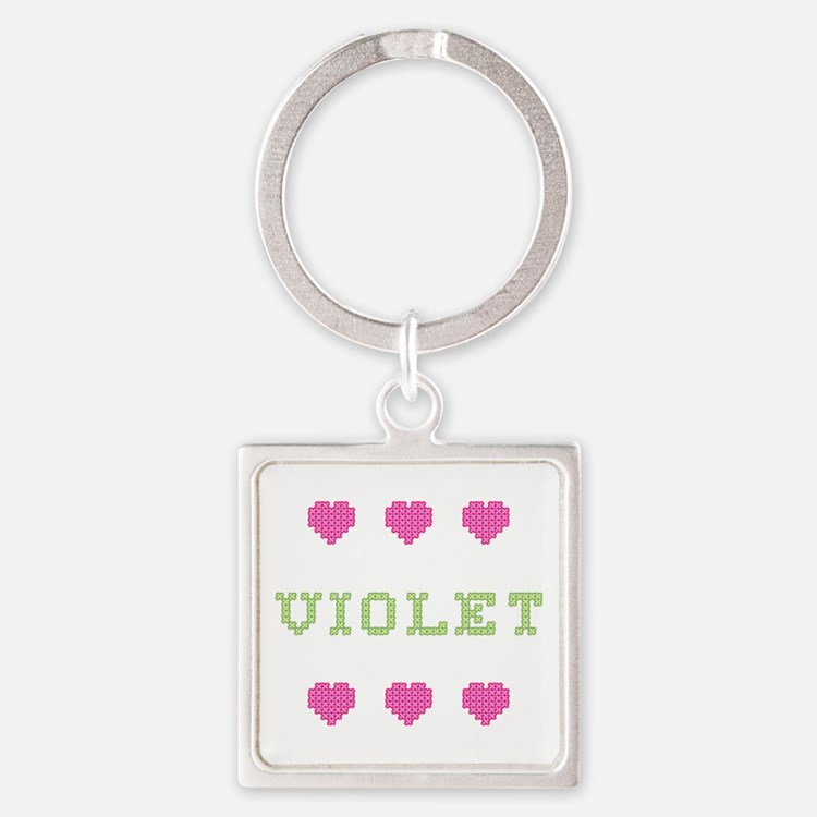 Violet Cross Stitch Square Keychain