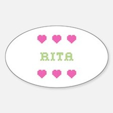 Rita Cross Stitch Oval Decal