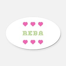 Reba Cross Stitch Oval Car Magnet