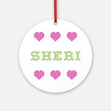 Sheri Cross Stitch Round Ornament